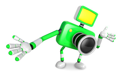 Green camera Character Kindly guide. Create 3D Camera Robot Seri