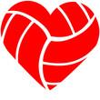 Leinwanddruck Bild - Volleyball Heart
