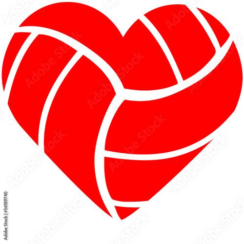 Leinwanddruck Bild Volleyball Heart