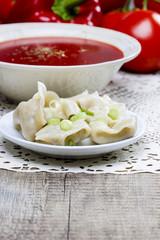 Red borsch with dumplings. Traditional polish cuisine