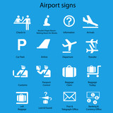 Icon set of airport signs and symbols vector on blue