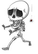 Cartoon illustration of a funny skeleton afraid of spider