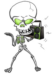 Illustration of a skeleton listening a vintage stereo cassette