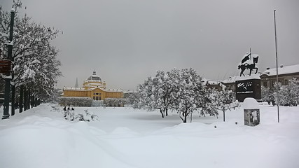 Panorama of king Tomislav square with statue and art gallery