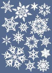 """silhouettes of snowflakes on a colored background 2"""