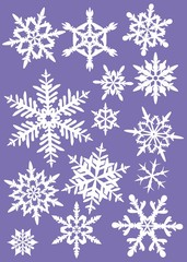 """ silhouettes of snowflakes on a colored background 1"""