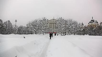 Zagreb city center, king Tomislav square, heavy snowing