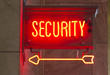 Red Neon Security Sign Indoor Signage Arrow Pointing
