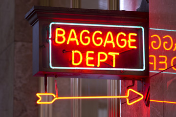 Red Neon Sign Indoor Depot Signage Arrow Points Baggage Dept