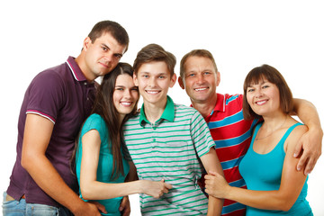 Happy big caucasian family having fun and smiling over white bac