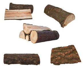 set log fire wood isolated on white background