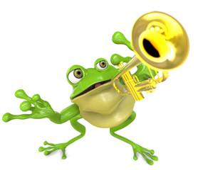 Rana tocando una Trompeta