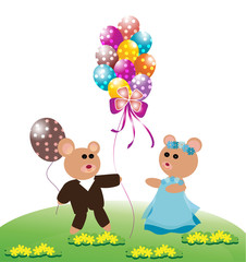 Teddy bear with balloons