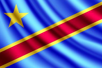 Waving flag of Democratic Republic of the Congo, vector
