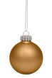 Yellow christmas bauble isolated on white background