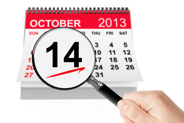 Happy Columbus Day Concept. 14 october 2013 calendar with magnif