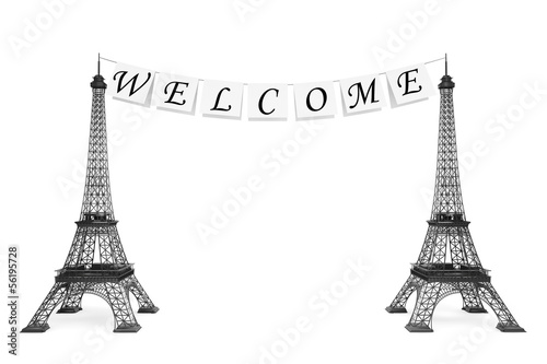 France Tourism Concept. Welcome Sign on the rope with Eiffel Tow