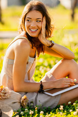 closeup happy girl outdoors portrait