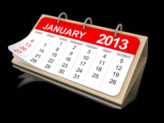 Calendar -  January 2013 (clipping path included)