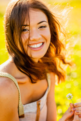 closeup happy girl outdoors portrait