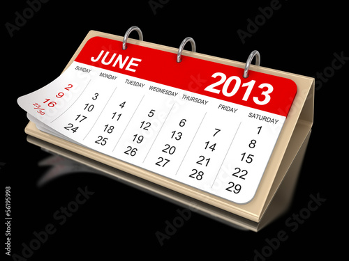 Calendar -  June 2013  (clipping path included)