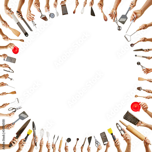 Hands with different kitchen tools in a circle