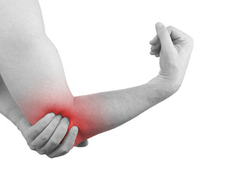 Pain in a man elbow.