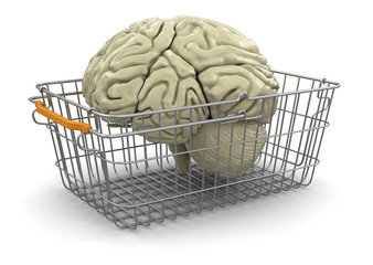 Shopping Basket and brain (clipping path included)