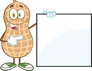 Peanut Cartoon Mascot Character Showing A Blank Sign