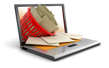 Laptop, garbage basket and letters (clipping path included)