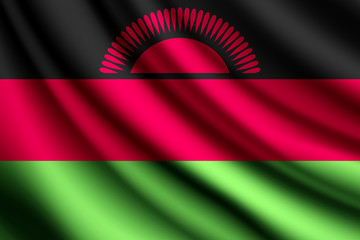 Waving flag of Malawi, vector