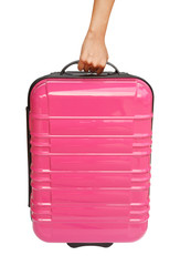 suitcase and hand isolated on white background