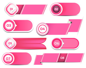 Set of pink vector progress, version, step icons