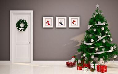 Christmas interior with door