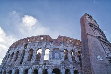 View from below of Colosseum, Rome