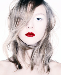 Beauty with red lips.