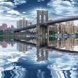 Brooklyn Bridge with beautiful sky reflex on East River