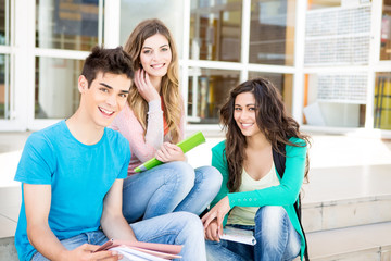 Young group of students in campus