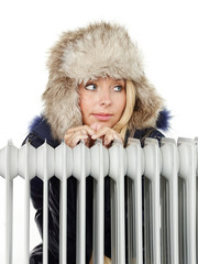 Winter lady with cap and radiator