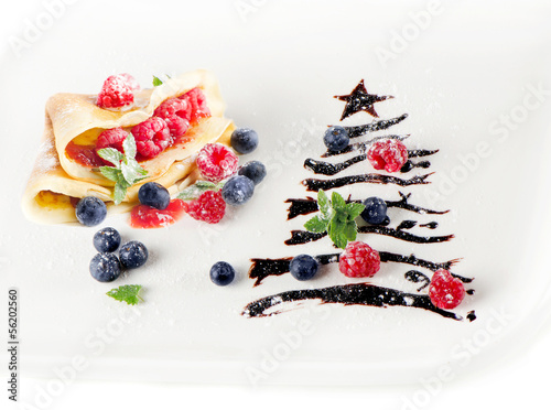 Sweet christmas tree with crepes