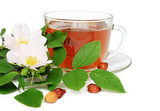 Wild rose tea with flowers