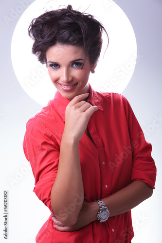 young woman smiles with aura around head