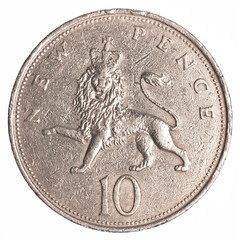 10 british pennies coin