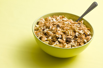 muesli in ceramic bowl