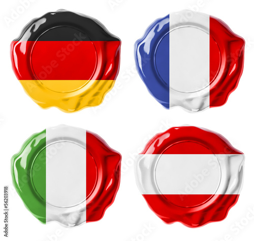 Germany, France, Italy, Austria national flag wax seals set isol