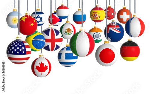 Christmas balls with different flags
