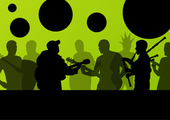 Rock concert various musicians landscape background illustration