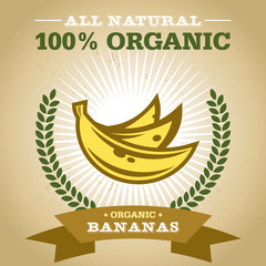 Organic Fruit Poster Design with Banana Icon