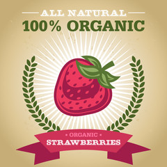 Organic Fruit Poster Design with Strawberry Icon
