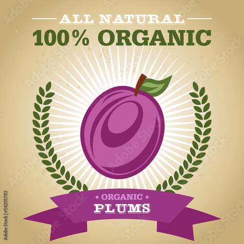 Organic Fruit Poster Design with Plum Icon